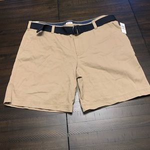 Izod Flat Front Cotton Belted Short